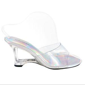 CLASSIFIED Y2K Clear Holo Heels Size 9